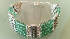 Bracciale 925 Sterling Silver pietre quarzo verde di Rosasbijoux