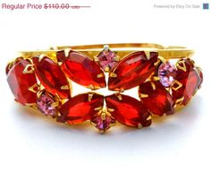 Red Pink Bracelet Rhinestone Juliana Clamper Bangle Vintage Beautiful D & E for Juliana bracelet  Clamper style  Hinged All stones are prong