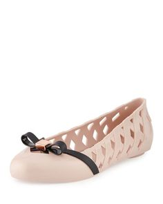 X35RQ Melissa Shoes Praia Bow Cutout Ballerina Flat, Light Pink