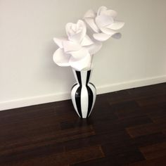 "Tall black and white striped vase (23.5""H)"
