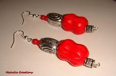 Red dangle earrings bold statement earrings by MahelieCreations, $8.00