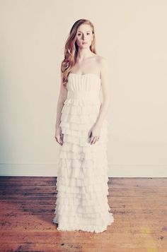 Pretty ruffles and pleats, #wedding #dress - all the was down...