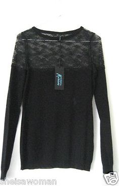 Authentic GUESS by Marciano. BNWT. Black LACE SWEATER TOP.  visit sheisawoman @eBay.com.au