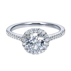 1.22cttw Round Halo Diamond Engagement Ring with Pave Set Side Diamond | Mullen Jewelers