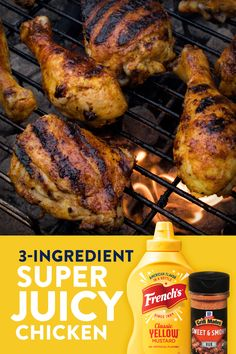 Garden Ideas Discover Super Juicy Chicken This grilled chicken recipe is not only easy but delicious. Coat chicken in Sweet & Smoky Rub and tangy mustard for a lip-licking meal. Its as simple as that! Grilling Recipes, Meat Recipes, Dinner Recipes, Cooking Recipes, Healthy Recipes, Grilling Ideas, Smoker Recipes, Kitchen Recipes, Healthy Meals