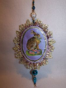 View Item: Vic Scrap Dresden Easter Bunny Mercury Glass Bead Icicle Feather Tree Ornament