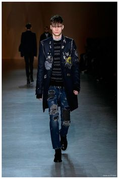 Diesel Black Gold Fall/Winter 2015 Menswear Collection: Brit Uniform Updated with Ripped Denim Jeans