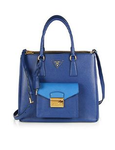 PRADA Saffiano Lux Bicolor Top-Handle Bag