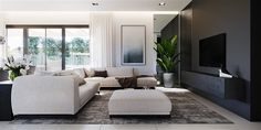 Find home projects from professionals for ideas & inspiration. Projekt domu HomeKONCEPT 58 by HomeKONCEPT Small Living Room Design, Home Living Room, Living Room Designs, Cool Room Designs, Bedroom Bed Design, Modern House Design, Family Room, House Plans, Interior Design