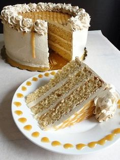 Old-Fashioned Butterscotch Cake. Made this totally yummy cake but next time I'll just make a brown butter frosting. This frosting is awesome, but is basically like frosting your cake with whipped butter! Köstliche Desserts, Delicious Desserts, Yummy Food, Sweet Desserts, Food Cakes, Cupcakes, Cupcake Recipes, Dessert Recipes, Cookbook Recipes