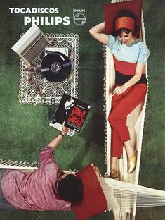 Philips Tocadiscos, advertising poster for portable record player, 1966.  Philips, Holland for the spanish market. Via plakatkontor.d