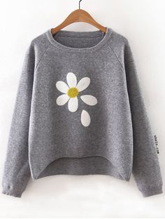 Grey Flower Print Raglan Sleeve Dip Hem Sweater