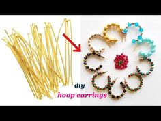 diy||Hoop Earrings With Head Pins||Quick and easy earrings with in 5mts||Make daily wear earrings - YouTube