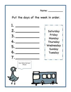 Days of the Week Worksheets Order – Activity Shelter English Worksheets For Kindergarten, First Grade Worksheets, English Worksheets For Kids, English Activities, Preschool Learning Activities, Kindergarten Reading, Preschool Worksheets, Days Of The Week Activities, Multiplication Worksheets
