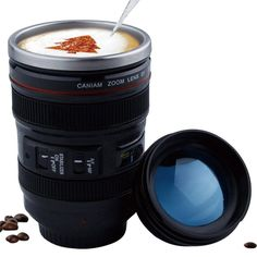 Creative Stainless steel liner Camera Lens Mugs Coffee Tea Cup Mugs With Lid Novelty Gifts Thermocup. Title: Creative Stainless steel liner Camera Lens Mugs Coffee Tea Cup Mugs With Camera Lens Mug, Best Camera Lenses, Camera Gear, Coffee Thermos, Coffee Cups, Tea Cups, Coffee Milk, Drink Coffee, Creative Coffee