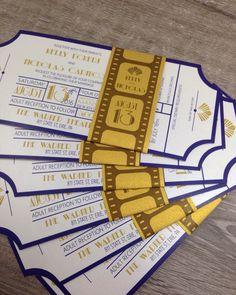 Navy and Gold Art Deco Movie Ticket Wedding Invitation / Belly Band invitation/ Bar Mitzvah / Glitter Wedding Invitation Art Deco Movie Ticket Invitation / Wedding Invitation /. Art Deco Wedding Invitations, Bar Mitzvah Invitations, Diy Invitations, Wedding Invitation Cards, Wedding Cards, Cinema Themed Wedding, Wedding Movies, Ticket Invitation, Shower Invitation