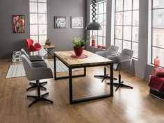 Stół Owens cm z czarną podstawą - Selsey Office Interior Design, Office Interiors, Loft Office, Attic Spaces, Upholstered Chairs, Home Bedroom, Room Decor, Table, Furniture
