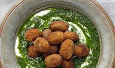 Yotam Ottolenghi's coated olives with spicy yoghurt: 'I nicked this recipe from New York's fantastic Balaboosta restaurant. Photograph: Colin Campbell for the Guardian. Yotam Ottolenghi, Ottolenghi Recipes, Canapes Recipes, Appetizer Recipes, Dinner Recipes, Veggie Recipes, Cooking Recipes, Healthy Recipes, Savoury Recipes
