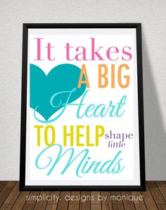 A Big Heart Teacher Quote by SimplicitybyMonique on Etsy