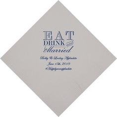 Wedding cocktail napkins personalized with Eat, Drink & Be Married design, bride and grooms names and wedding date