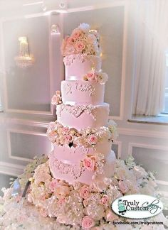 Romantic Floral and Lace Pink Wedding Cake  Cake by TrulyCustom