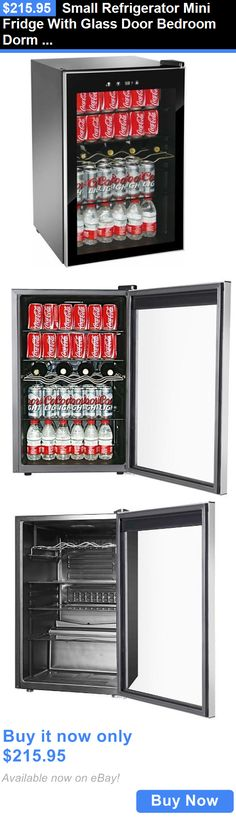 food and drink small mini fridge with glass door bedroom dorm bar beverage cooler - Mini Fridge Glass Door