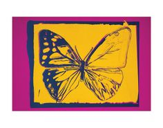 Vanishing Animals: Butterfly, c.1986 (Yellow on Purple)  Art Print  by Andy Warhol