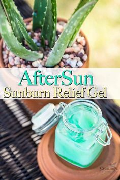 Say Goodbye to Painful, Itchy, Peeling sunburns and hello to fabulous summer skin care after the sun! This DIY AfterSun Sunburn relief Gel is the BEST as it instantly Soothes, Cools, heals and moisturizes your skin for quick healing. It is homemade with 3 natural ingredients such as Aloe Vera and Essential Oils. Plus it makes great gifts!  #sunburn #summertime