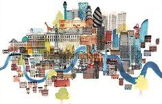 London architecture illustrations by Jennifer Maravillas