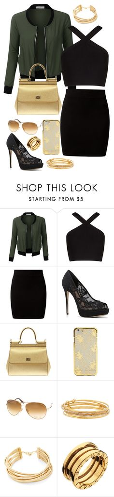 """""""Got the Gold Layer"""" by major-12 ❤ liked on Polyvore featuring LE3NO, BCBGMAXAZRIA, New Look, ALDO, Dolce&Gabbana, Tom Ford, Kate Spade and Bulgari"""