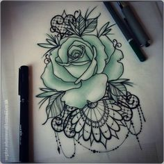 lace tattoo with antique roses - Google Search