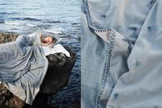 Photography by Ditte Isager for Toast SS Beach Camping, Denim And Lace, Blue Fabric, Photo Credit, Blue Grey, Cool Photos, Fashion Photography, In This Moment, Mornings
