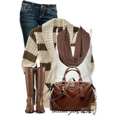 A fashion look featuring open knit cardigan, straight leg jeans and Tresics.