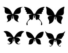 Here are those butterfly Silhouette . They are for only for the Silhouette machine. Black Butterfly Tattoo, Butterfly Stencil, Butterfly Template, Butterfly Pattern, Crown Template, Heart Template, Flower Template, Silhouette Cameo, Silhouette Portrait