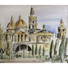 """Barcelona Art Market """"Montjuic Palace in Barcelona""""  Technique: WATERCOLOR on paper Artist: BENJAMÍ TOUS Size of set: 46 x 61 cm / 18.1 x 24 inches #painting"""