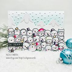 "144 Likes, 12 Comments - Nicky Meek (@nickynoocards) on Instagram: ""#somanysnowmen #mamaelephant #nickynoocards #carddesigner #cardmaking #christmas…"""