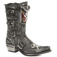 New Rock Boots Black Leather Cowboy Boots Biker Boots - 022 Boots Flames Skull and Crossbones