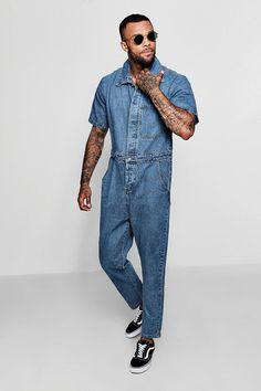 Shop Short Sleeve Single Pocket Boiler Suit at boohooMAN. Discover our range of men's boohooMan Denim Bebe Music, Boiler Suit, Bib Overalls, Denim Jumpsuit, Fashion Details, Mens Suits, Blue Jeans, Work Wear, Man Outfit
