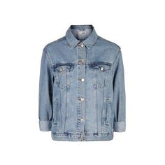 TopShop Moto Light Vintage Oversized Jacket ($66) ❤ liked on Polyvore featuring outerwear, jackets, mid stone, topshop jacket, bleached denim jacket, jean jacket, evening jacket and oversized jean jacket