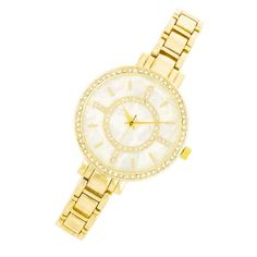Fashion Accessories Classic Metal Watch With Crystals GOLD