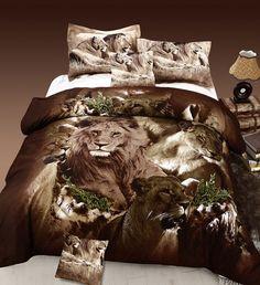 3 Piece DUVET Set, Jungle Collection Lion Animal Print Bed Cover Set