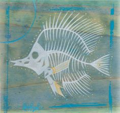 Original Coral Reef Fish Skeleton Silhouette Acrylic by Ash Lethal $25.00