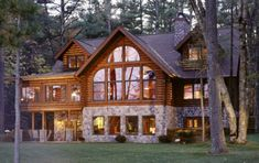 i love log cabins! i want one on a lake in the mountains