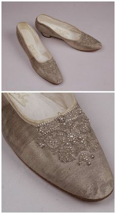 Empress Alexandra Fyodorovna's coronation shoes. Made by the shoe shop of I. Yegorov, St. Petersburg, Russia. 1896. Brocade, leather, cotton cloth, silk ferret, silver thread, pearls. Moscow Kremlin Museums (link: http://collectiononline.kreml.ru/iss2/items?lang=en&info=51832&sa-fund=2766560).