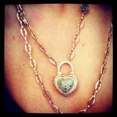 Arik Kastan Diamond Heart Padlock Raw Diamonds, Razor Blade Chain, 14kt Rose Gold Available at Roseark