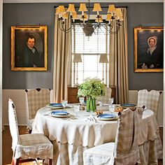 Decorate with Blue |  Pair a nuetral-tone linen with a dark blue wall paint for an soft, yet elegant finish. | SouthernLiving.com