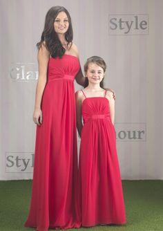 Red Column Spaghetti Straps Empire Waist Chiffon Long Junior Bridesmaid Dresses