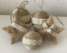 Set of 5 Twine Ornaments for Rustic Christmas Decor Country Country Christmas . Set of 5 Twine Ornaments for Rustic Christmas Decor Country Country Christmas Decoration Housewarming Gift Star Ornament. Christmas Farm, Rustic Christmas Ornaments, Country Christmas Decorations, Christmas Budget, House Ornaments, Pinecone Christmas Crafts, Christmas Trees, Rustic Christmas Decorations, Burlap Ornaments
