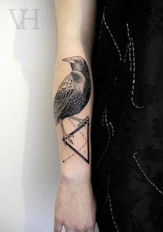 #bird #crow #triangle #tattoo by Valentin Hirsch