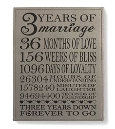 Kate Posh - Our 3rd Wedding Anniversary 3rd Anniversary Gifts for couple 3 Years Anniversary 3 Years of Marriage Third Anniversary Gifts for Her Gifts for Him - Engraved Leather Plaque